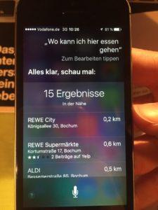 Siri geht bei Rewe essen